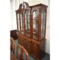 Large antique style modern chest on chest dining room cabinet with illuminated display hutch with cu