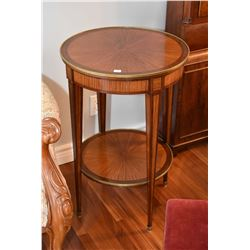 Matched grain mahogany two tier occasional table with slender tapered legs