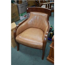 Pair of quality modern closed arm side chairs with nail head decoration made by Sam Moore Furniture,