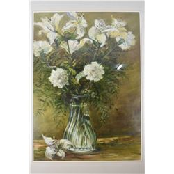 Framed original oil on paper painting titled  White Lilies  by artist Hilary Prince, 29  X 21