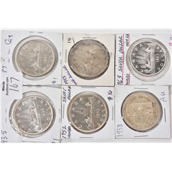 Six Canadian silver dollars including 1935, 1937, 1952, 1953, 1958 and 1963