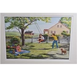 Three framed original watercolour paintings of children playing signed by artist Susan Gardiner, two