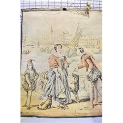"Antique woven tapestry of a Belgian balcony scene 49"" X 36"""