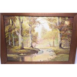 Antique oak framed oil on board painting of a autumn wooded creek scene signed by artist N. Wirtz, 1