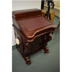 Antique style mahogany Davenport with flip lid, fitted interior and drawers on both sides of base