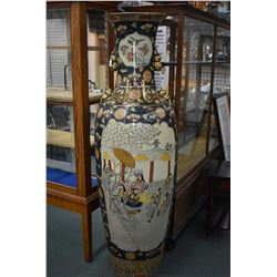 Large semi contemporary Oriental floor vase with hand painted scenes 73  in height