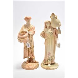 Two Royal Worcester figurines including Cairo Water Carrier female and male figures Rd. No. 84463 an