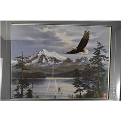 """Framed limited edition print titled """"Majestic Flight"""" pencil signed by artist Fred Buchwitz, 120/500"""