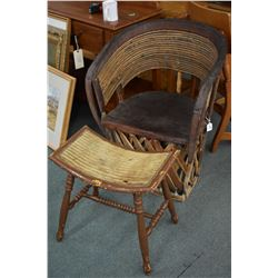 Interesting patio style tub chair with curved foot stool, perfect for summer relaxing