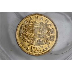 Canadian 1913, $5 gold coin with George V and obverse coat of arms