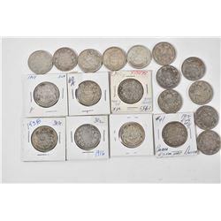 Nineteen Canadian silver half dollars including 1912, 1916, two 1918, 1938, 1941, 1946, 1949, two ea