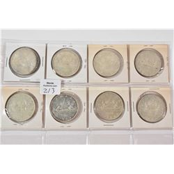 Eight 1966 Canadian silver dollars