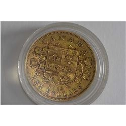 Canadian 1912, $10 gold coin with George V and obverse Canadian coat of arms
