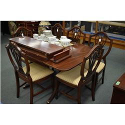 Regency style mahogany double pedestal drop leaf dining table with two fully skirted insert leaves w