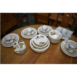 Nine place setting of Royal Worcester Evesham including dinner plates, luncheon plates, bread plate