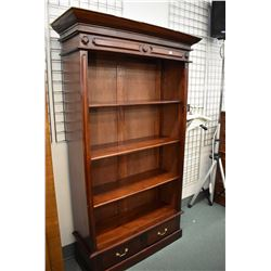 """Antique style four tier open book/display shelf with two drawers in base, 77"""" in height"""