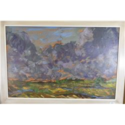 Framed original acrylic on board abstract landscape painting by Edmonton artist R.L. (Ron) Myren, 15