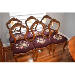 Set of six matching Victorian balloon back dining chairs with carved flower basket designed back and