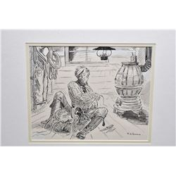 """Framed original pen and ink on paper picture labelled on verso """"Bunkhouse scene winter 1914-1915 Sco"""