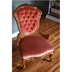Pair of his and hers Victorian button tufted parlour chairs