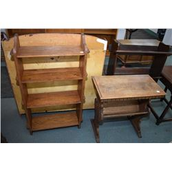 Two pieces of oak mid 20th century parlour furniture including small Mission style four tier bookshe
