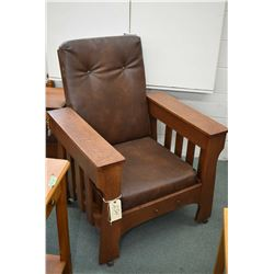 Antique quarter cut oak Mission style reclining Morris chair with book storage inside lower arm and