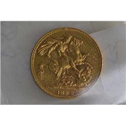 British 1888 gold full sovereign coin with Jubilee head and obverse shield George and the Dragon