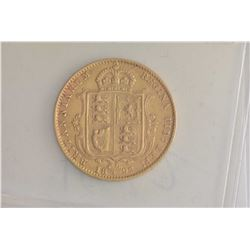 British 1892 gold 1/2 sovereign coin with Jubilee head and obverse George and the Dragon