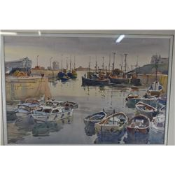 """Framed original watercolour painting of a harbour scene signed by artist Alan R. Cook, 14"""" X 20"""""""