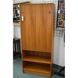 Danish made teak sewing cabinet with pull down work surface with fold over legs and storage shelves