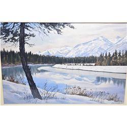 "Framed original watercolour titled on verso "" Johnson Canal"" signed by artist (Alfredo) Guzman Schwa"