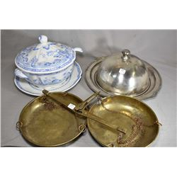 English made semi- porcelain lidded tureen and under plate plus a silver-plate lidded meal tray and