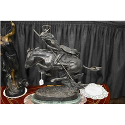 """Frederic Remington cast bronze """"The Cheyenne"""" on marble base 24"""" in height"""