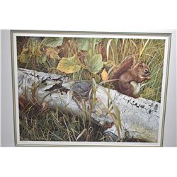 """Framed limited edition print """"Forager's Reward"""" pencil signed print and ink signed glass by artist C"""