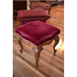 Mahogany framed upholstered Victorian foot stool with scroll feet