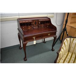 Chippendale style mahogany writing desk with ball and claw feet