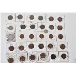 Selection of collector coins including several Canadian large pennies etc.