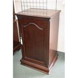 Solid mahogany component cabinet with single retractable door fitted with one pull out turn table sh