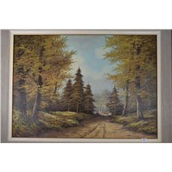 """Framed oil on canvas landscape painting signed by artist J.R. Raamsdonk, 20"""" X 27"""""""