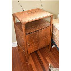 Antique Canadiana quarter oak single door commode