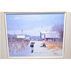"""Framed original oil on canvas painting """"Go Ahead and Throw It"""" signed by artist Peter Shostak, 16"""" X"""