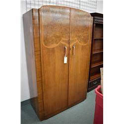 Matched grain English walnut, art deco two door wardrobe with original pulls