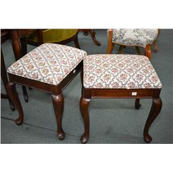 Pair of modern matching vanity stools with cabriole supports