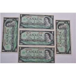 Five circulated 1967 one dollar bills, all signed Beattie and Raminksy, three with serial no. and tw