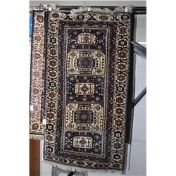 """100% Iranian Balouch area carpet with multiple medallions in deep tones with light highlights, 43"""" X"""