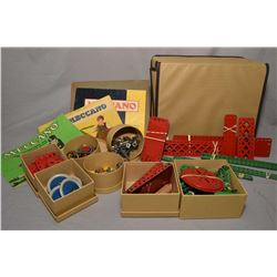 Selection of vintage metal Meccano building sets including No. 5 and No. 10 with building manuals