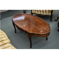 Solid mahogany French provincial coffee table made by Baetz
