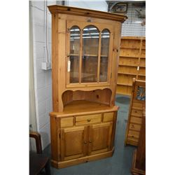 Country style pine two piece corner cabinet with drawer and doors in base and single glazed door in