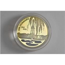 """Royal Canadian mint 2002, $100 coin """"Raising a harvest of black gold 55th anniversary of discovering"""