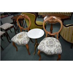 Two Victorian style tapestry upholstered chairs and semi contemporary single pedestal and marble top